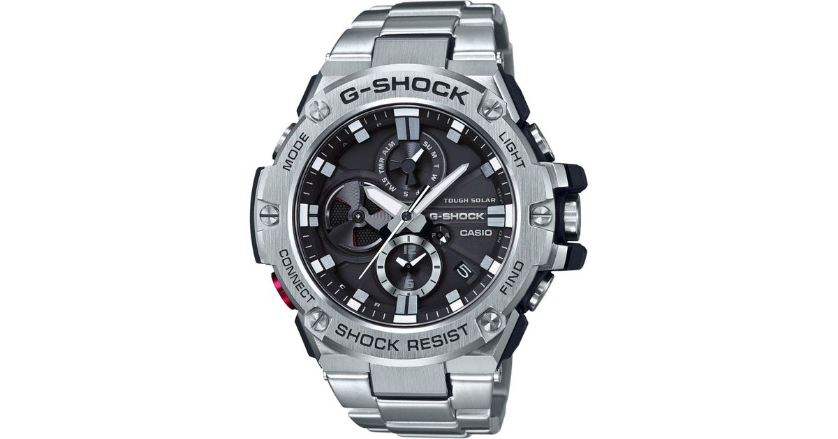 G Shock Men S Stainless Steel Bracelet Watch 53 8mm In Metallic For