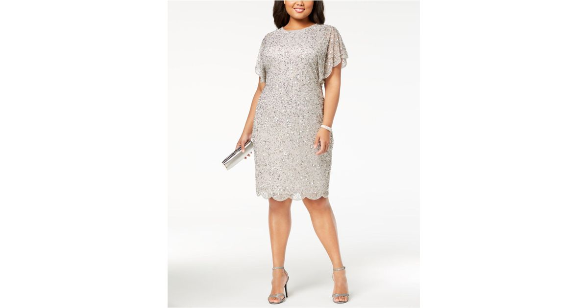 89936cf811 Adrianna Papell Plus Size Beaded Flutter-sleeve Dress in Metallic - Lyst