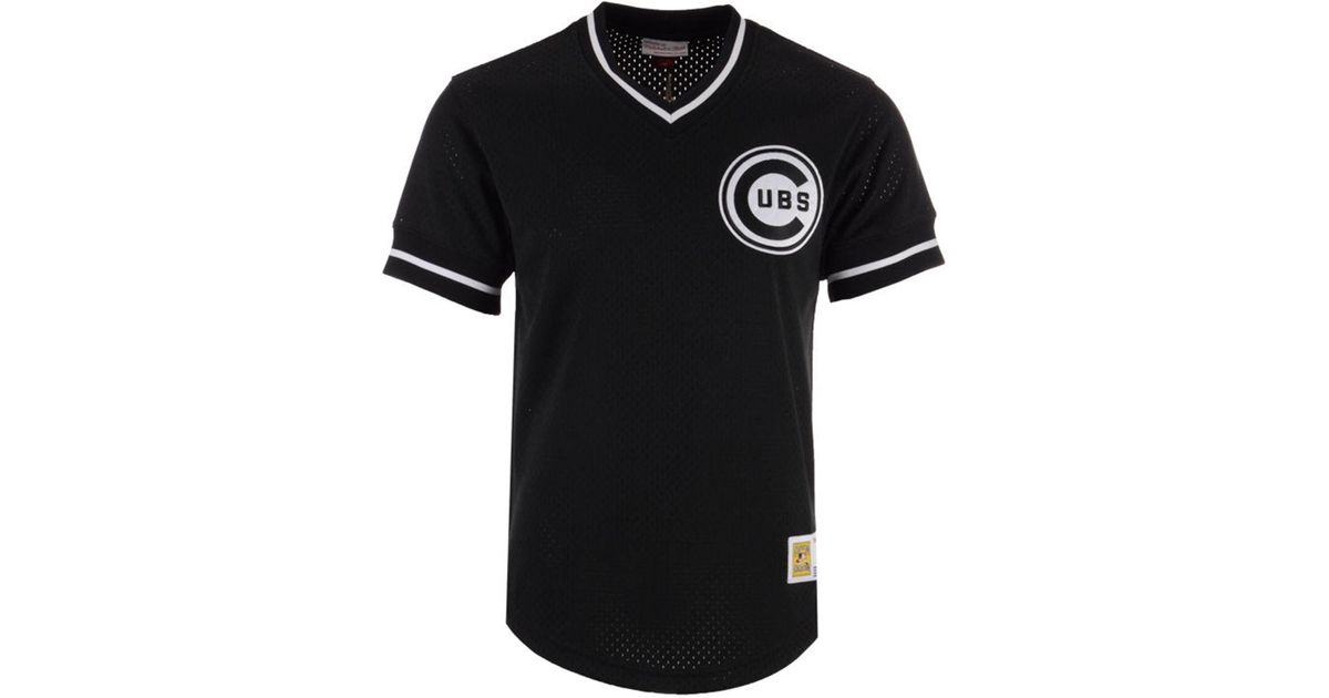 low priced 08404 88b01 Mitchell & Ness Black Chicago Cubs Mesh V-neck Jersey for men