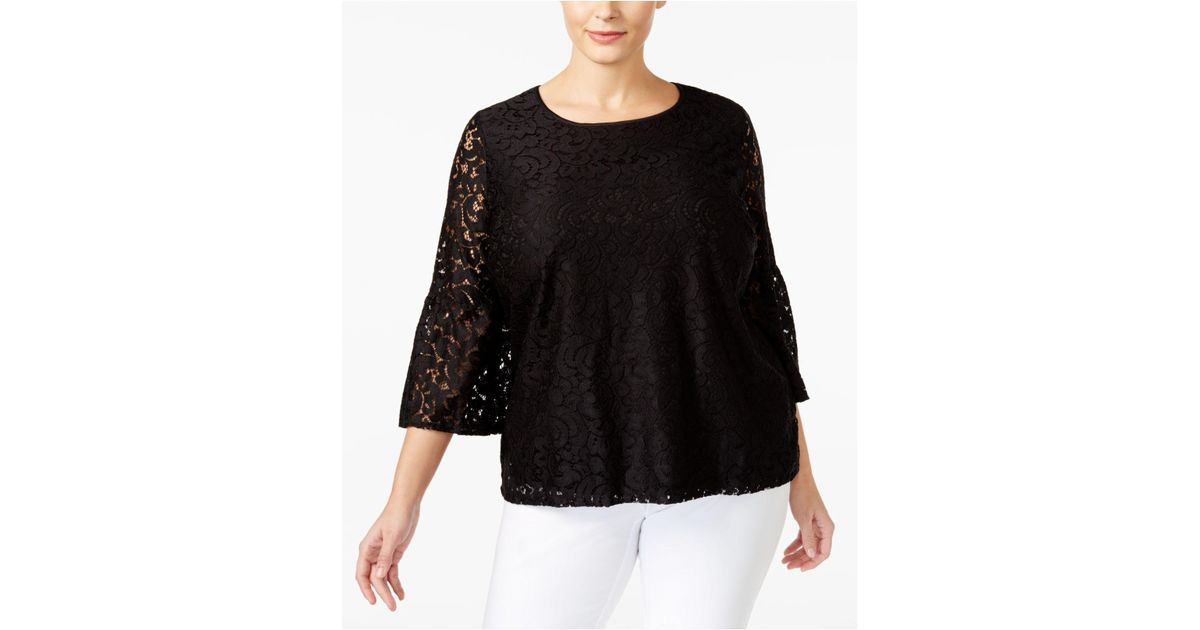 5deaf9d99920f8 Lyst - Calvin Klein Plus Lace Bell Sleeves Blouse in Black