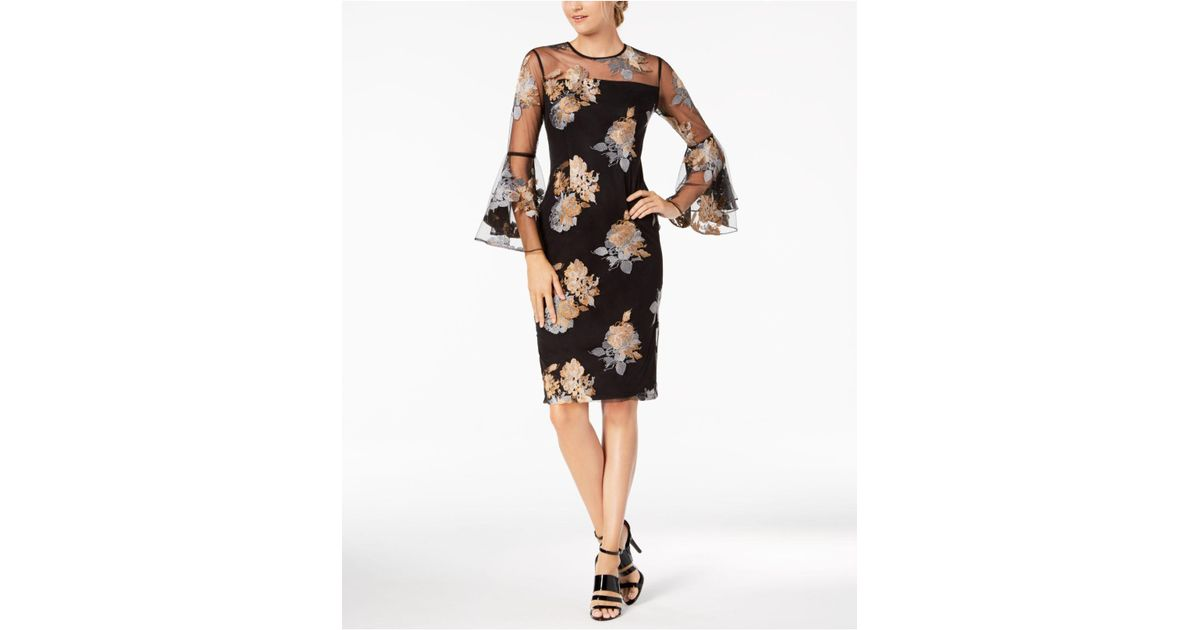 Calvin Klein Synthetic Floral Illusion Mesh Bell Sleeve