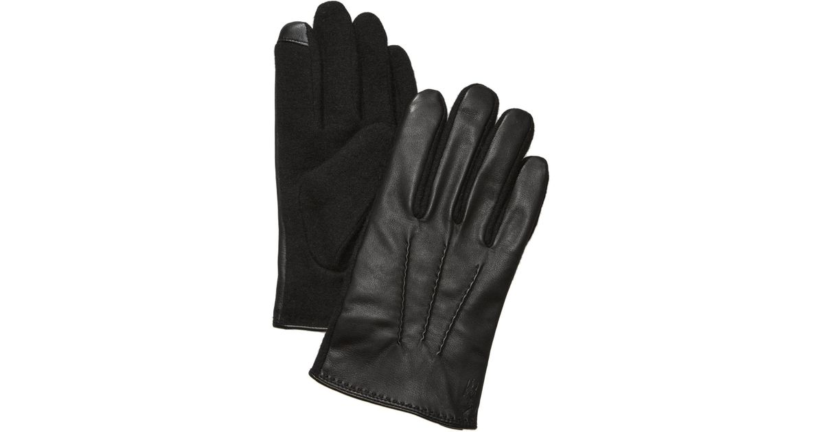 38e10478e6977 Polo Ralph Lauren Men's Hand-stitched Nappa Leather Touch Gloves in Black  for Men - Lyst