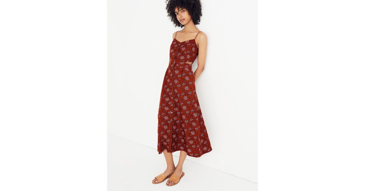 9043ecffd18 Lyst - Madewell Cutout Cami Midi Dress In Warm Paisley in Red