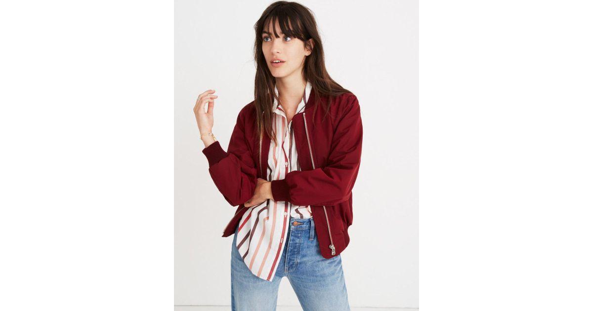 0509ee3ec Madewell Red Side-zip Bomber Jacket