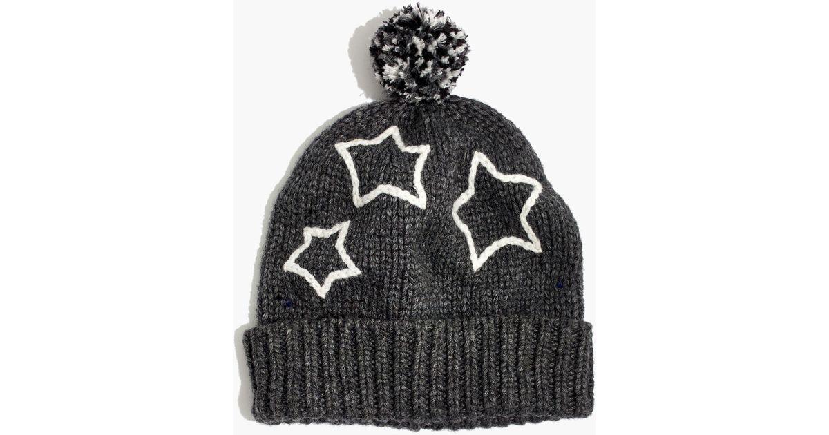 ffc9f42e790 Lyst - Madewell Starry Pom-pom Beanie in Black