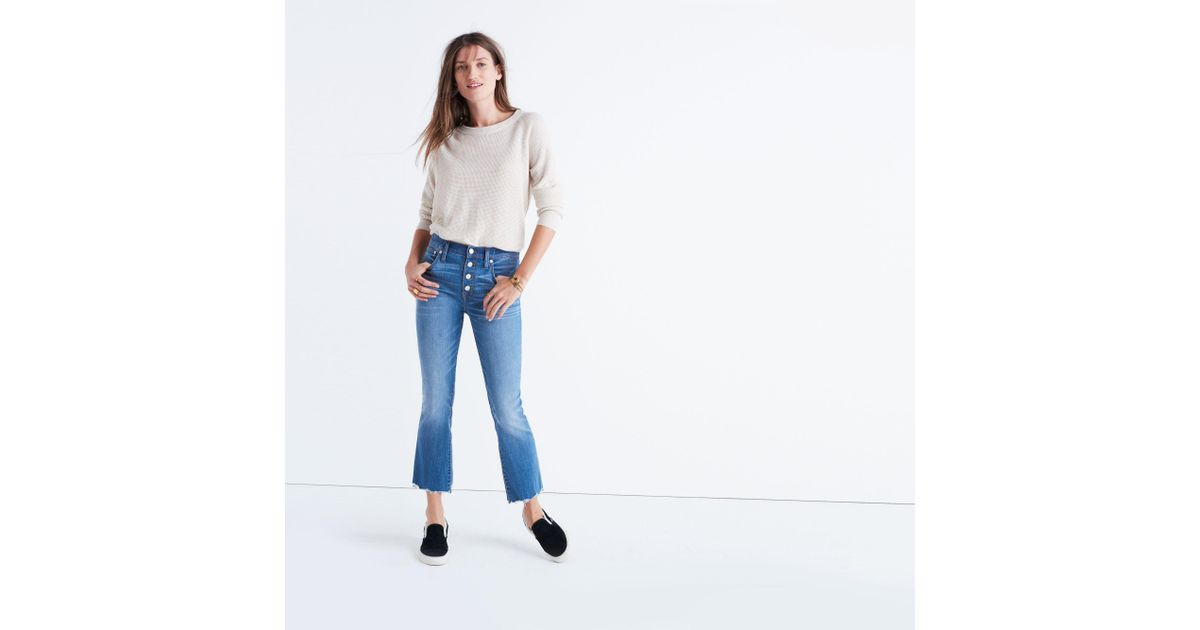 Madewell Cali Demi Boot Jeans Chewed Hem Edition In Blue