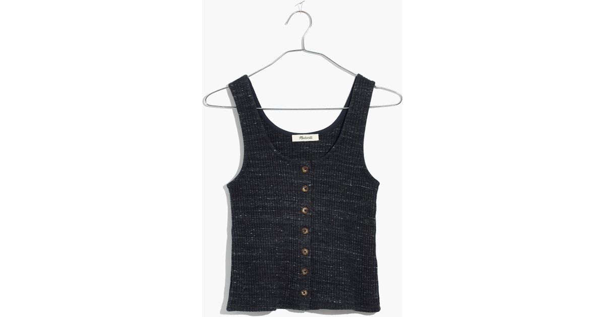 4bc92b5177a355 Lyst - Madewell Ribbed Button-front Tank Top in Blue