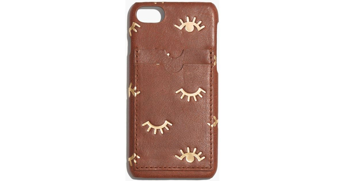 sneakers for cheap 9f4a0 ddfe5 Madewell Brown Leather Carryall Case For Iphone® 7: Winking Eye Edition