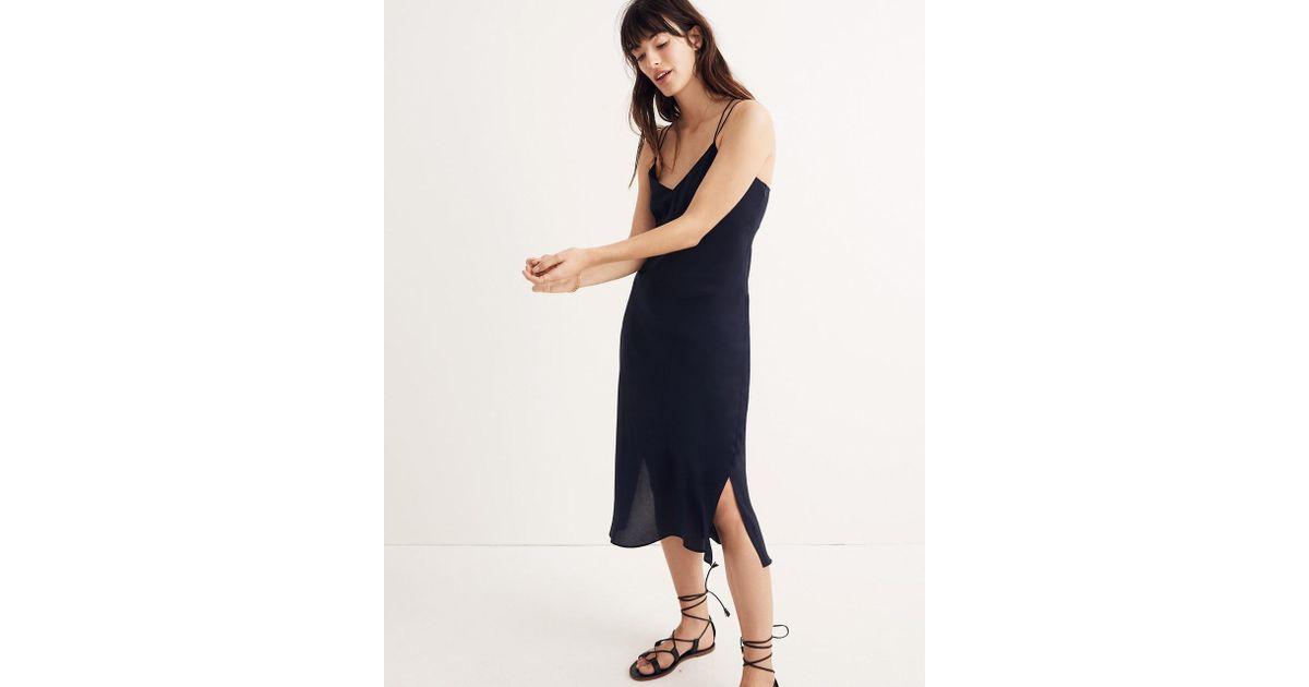 62aedd68bc713 Madewell Blue Silk Slip Dress