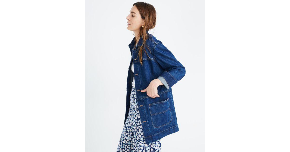 4717b4eab Madewell - Blue Oversized Denim Chore Jacket - Lyst