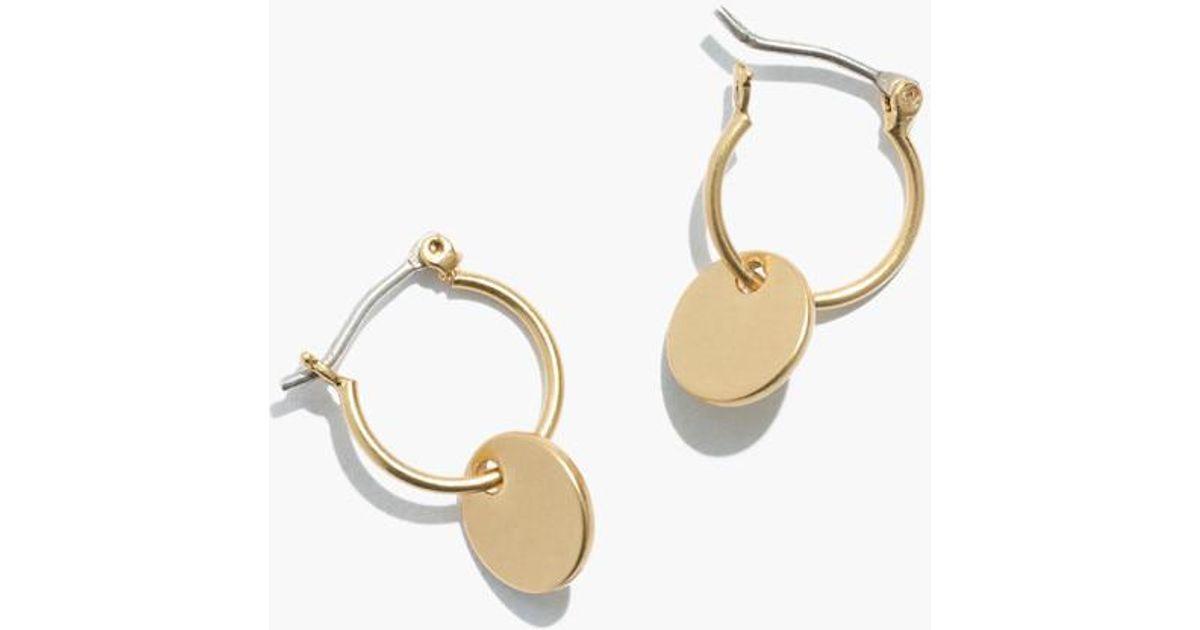 821c154c8f31d7 Madewell Disc Charm Mini Hoop Earrings in Metallic - Lyst