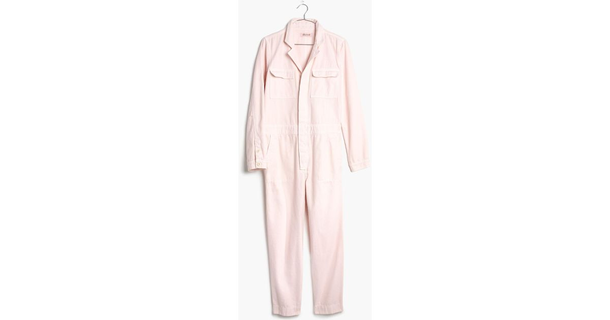apiece apart fit flare flame thrower pink denim jumpsuit $395 Current Madewell 6