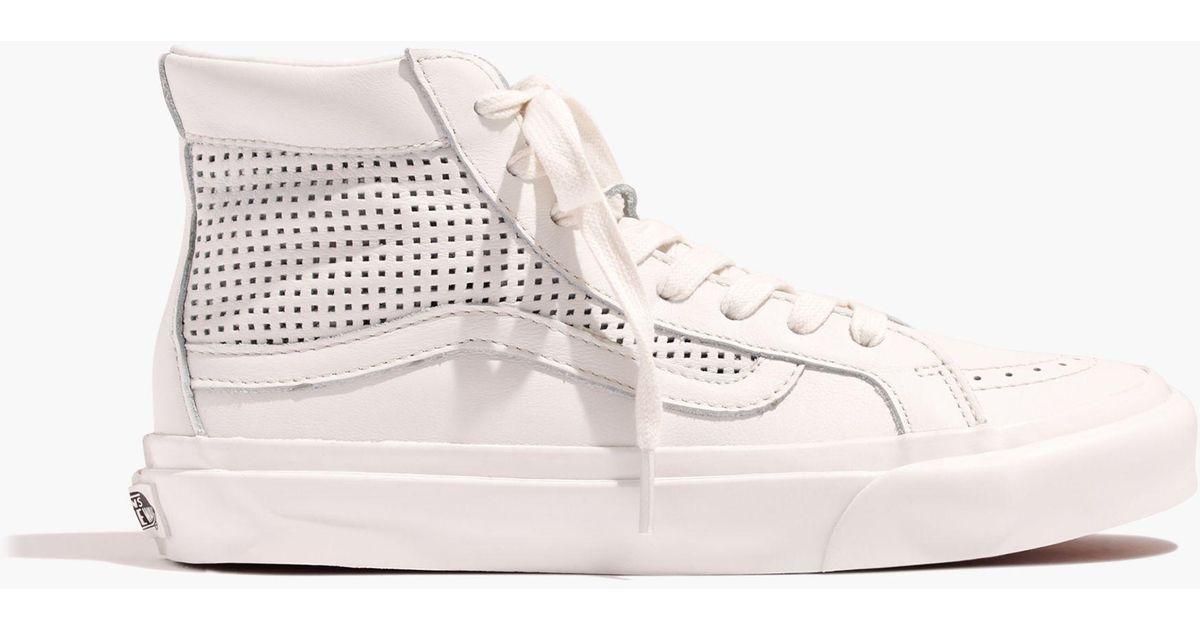 Lyst - Madewell Vans® Unisex Sk8-hi Slim High-top Sneakers In Perforated  Leather in White 98a6eafef