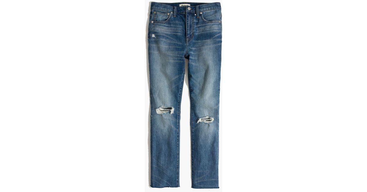 707fbe1bfaeb10 Madewell The Tall High-rise Slim Crop Boyjean: Knee-rip Edition in Blue -  Lyst