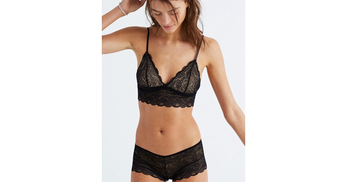 64898a72ad95a Madewell Lace Liana Longline Bralette in Black - Lyst