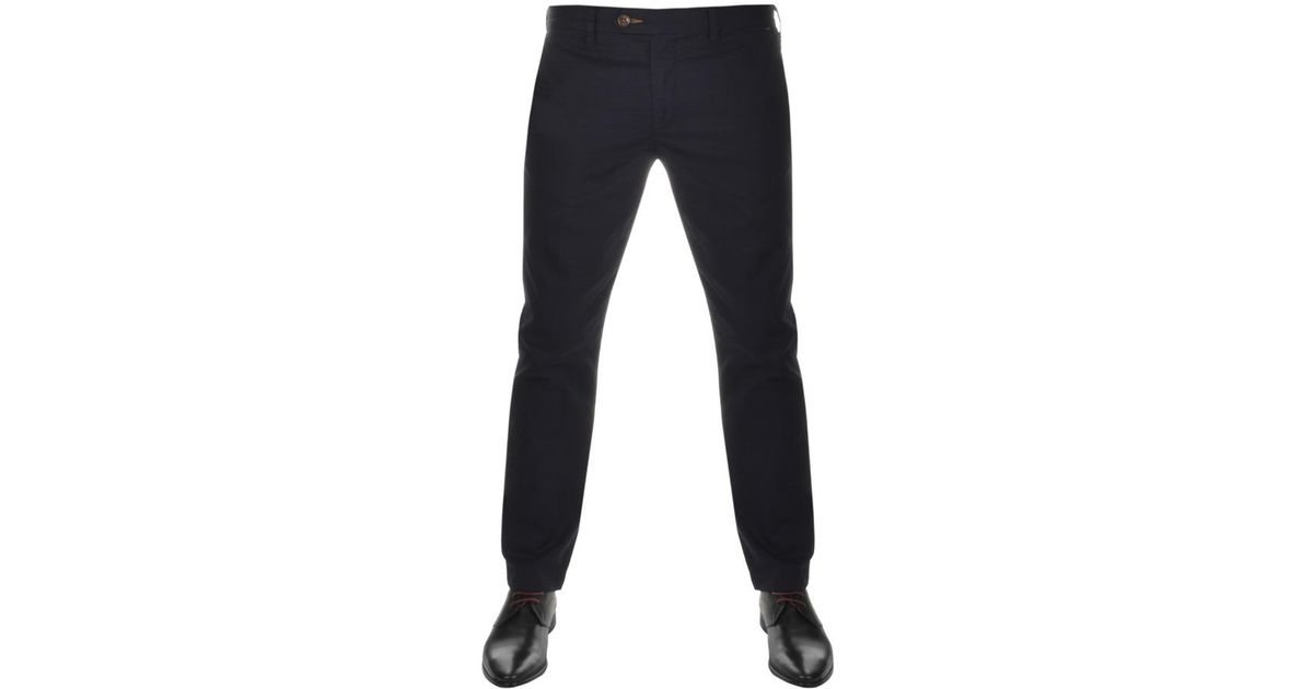 9b436b79d Ted Baker Byron Slim Fit Chino Trousers Navy in Blue for Men - Lyst