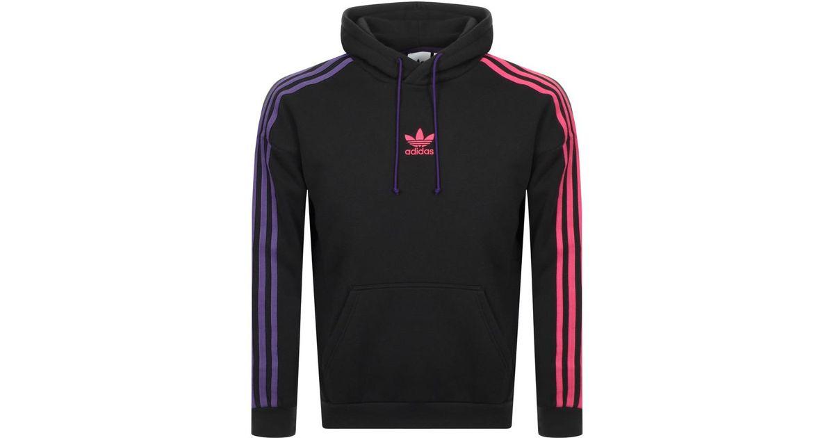 adidas 3 stripe hoodie black/purple/pink