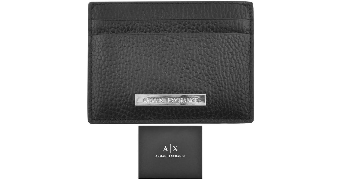 sports shoes ed5be ea1a3 Armani Exchange Leather Card Holder Black for men