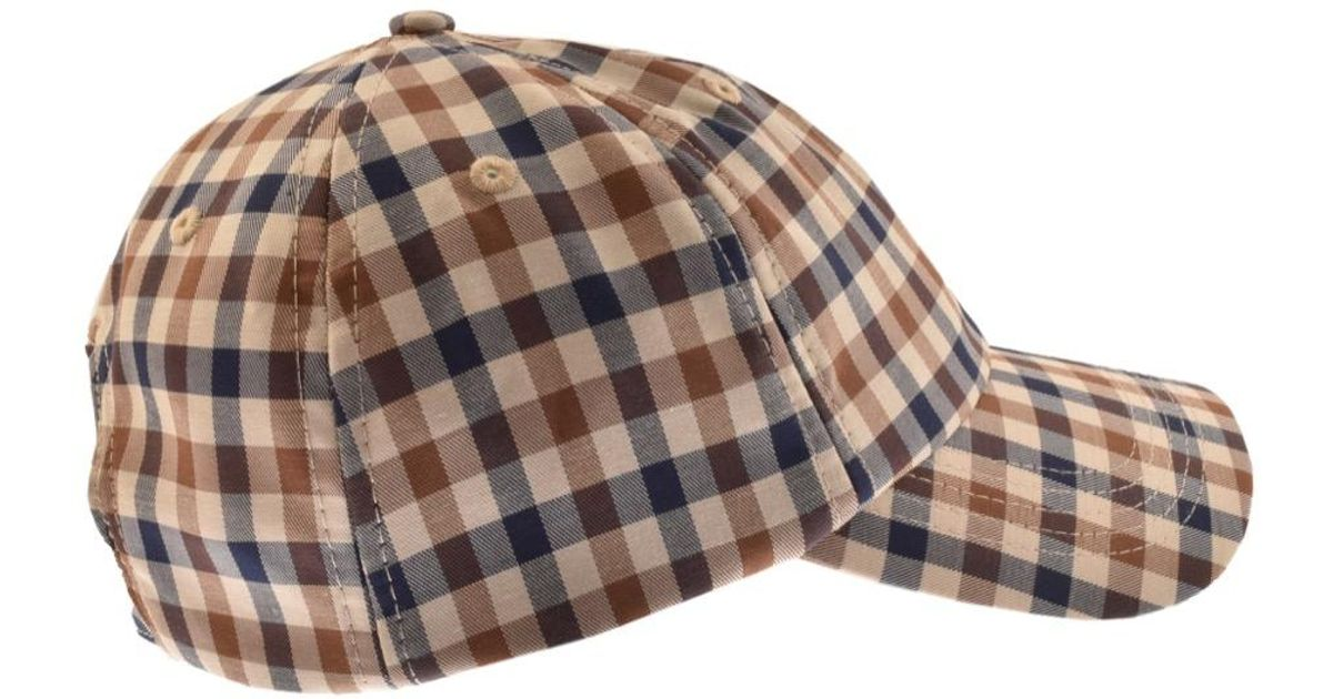 de1355b5f85 Aquascutum Abbott Club Check Cap Beige in Natural for Men - Lyst