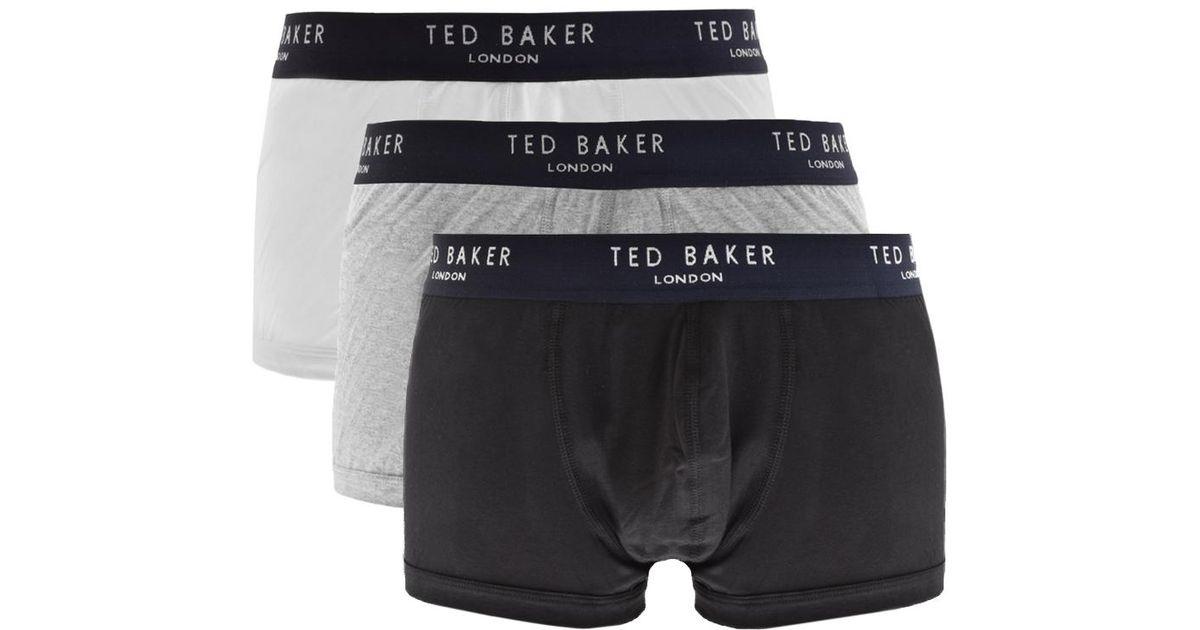 White Ted Baker Mens Davinci 3 Pack Plain Boxers