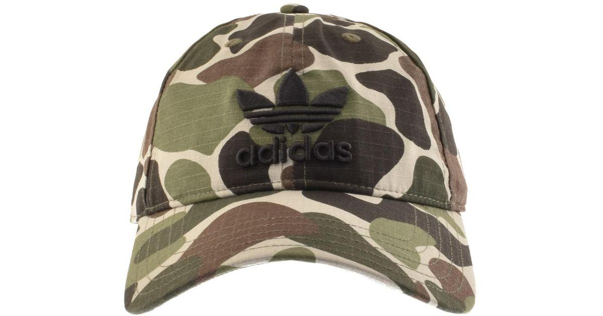 run shoes new concept buy online Adidas Originals Camo Trefoil Cap Green for men