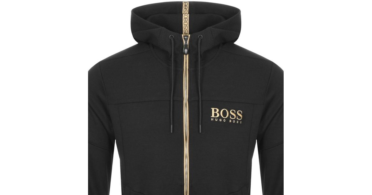 bfdf214a792 BOSS Athleisure Boss Green Saggy Full Zip Hoodie Black in Black for Men -  Lyst