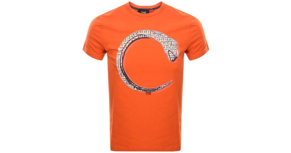 b137db0aac018 Just Cavalli Cavalli Class Snake T Shirt Orange in Orange for Men - Lyst