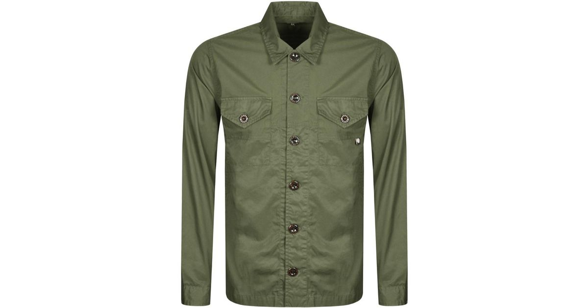 84348151416 Lyst - Pretty Green Robinia Long Sleeve Overshirt Khaki in Green for Men