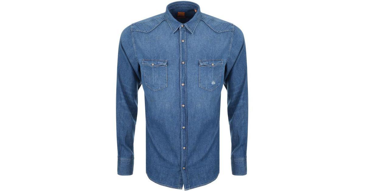 acefbb507 BOSS by Hugo Boss Boss Orange Erodeo Long Sleeve Shirt Blue in Blue for Men  - Lyst