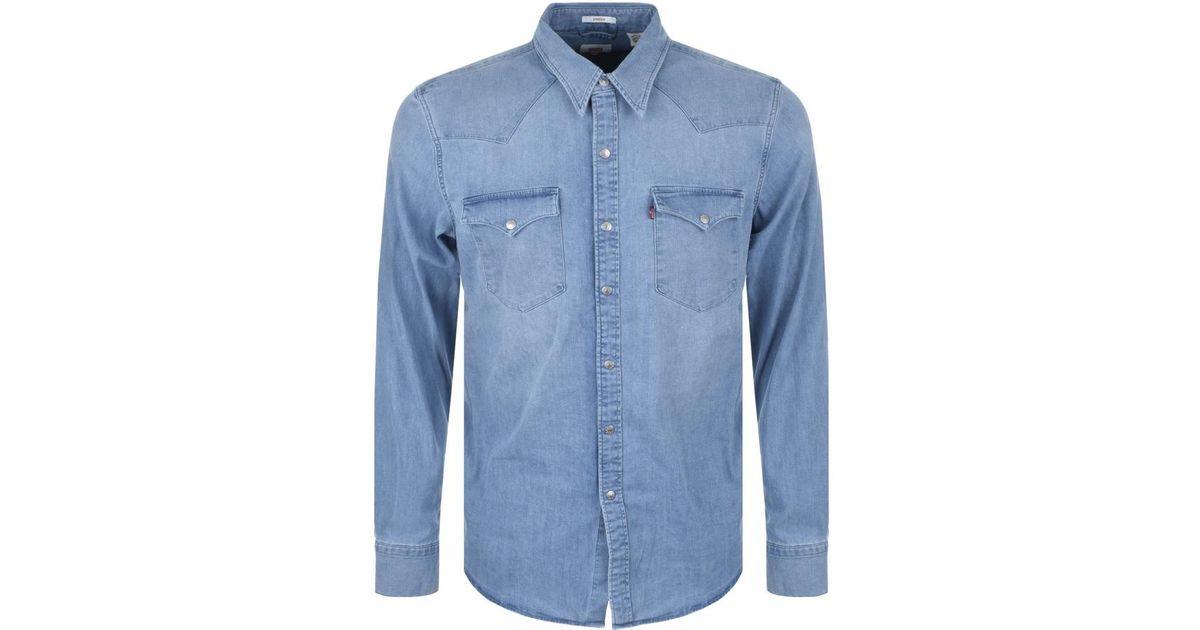 e78854e6b3 Lyst - Levi s Barstow Western Denim Shirt Blue in Blue for Men