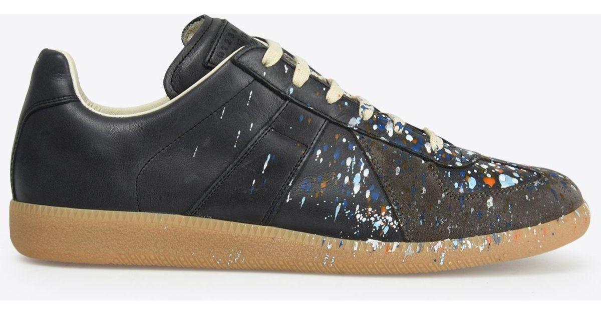 e93f811dc54 Maison Margiela Blue Low Top Paint Drop Replica Sneakers for men