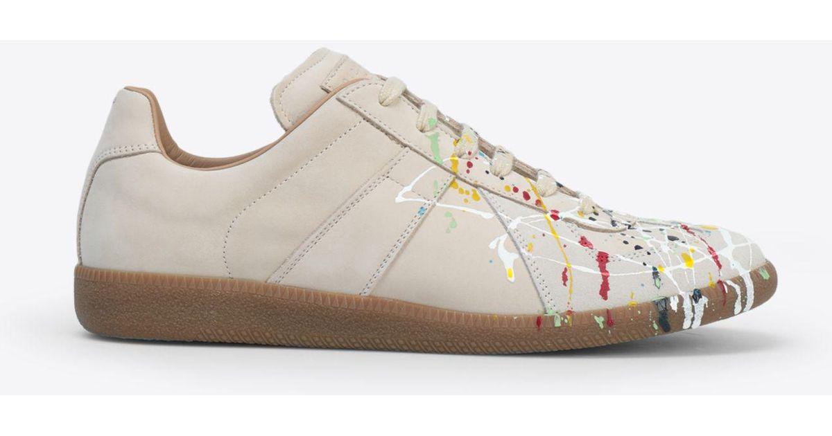 332673cd63e Maison Margiela Natural Suede Paint Drop 'replica' Sneakers for men