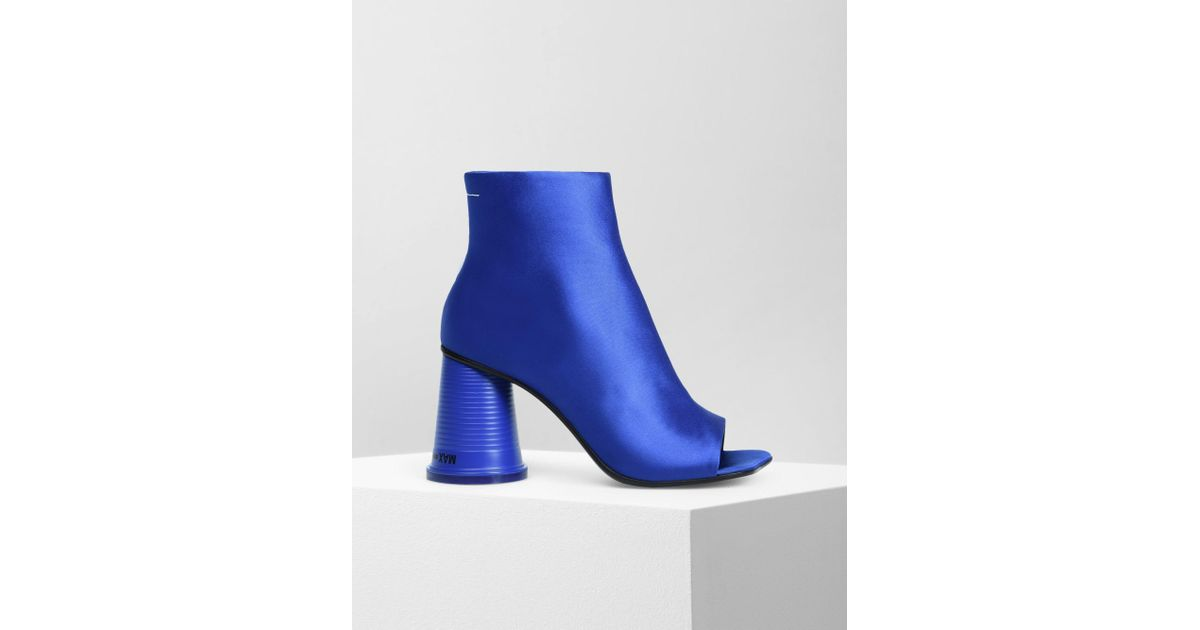 83c47a18e MM6 by Maison Martin Margiela Peep-toe Cup Heel Ankle Boots in Blue - Lyst