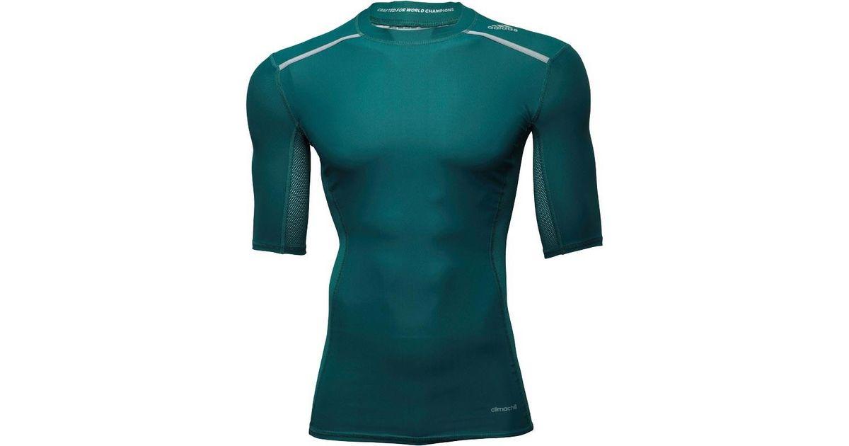 efd701da Adidas Techfit Climachill Compression Top Mystery Green for men