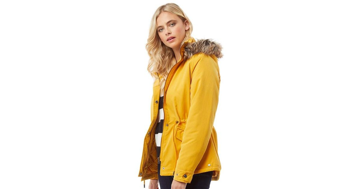 f1cc9ee6a16 ONLY Starlight Fur Parka Golden Yellow
