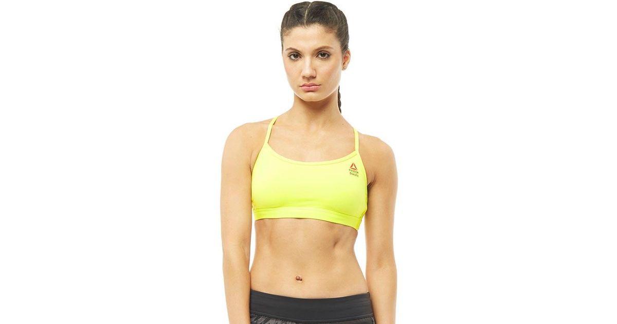 079aa90d56 Reebok Crossfit Front Rack Speedwick Strappy Sports Bra Top Hero Yellow
