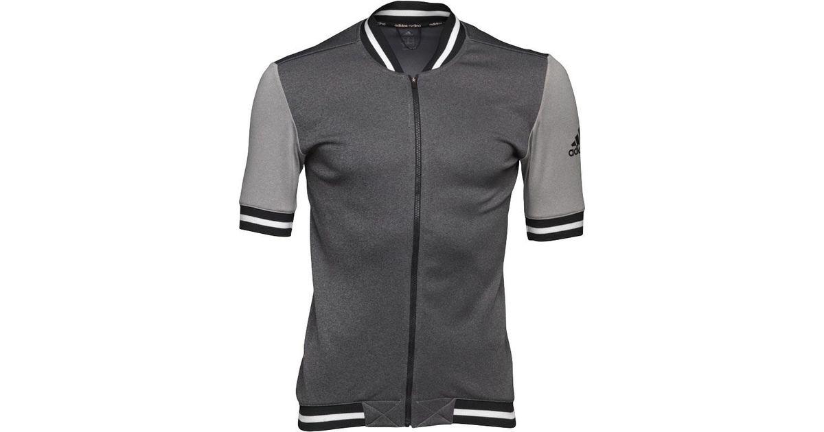 adidas Anthem Cult Hybrid Cycling Jersey Dark Grey Heather black white in  Gray for Men - Lyst 393c14e05