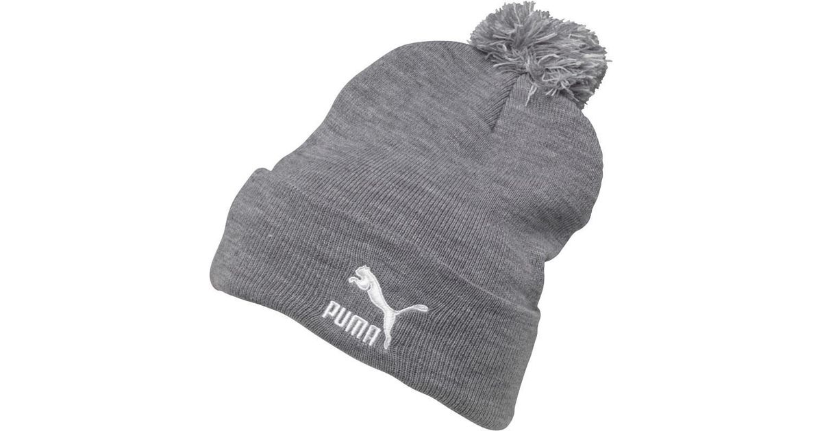 PUMA Core Knit Bobble Hat Grey white in Gray - Lyst 0d230673d0b