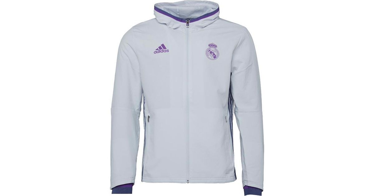 693e81edc adidas Rmcf Real Madrid Presentation Jacket Crystal White super Purple in  White for Men - Lyst
