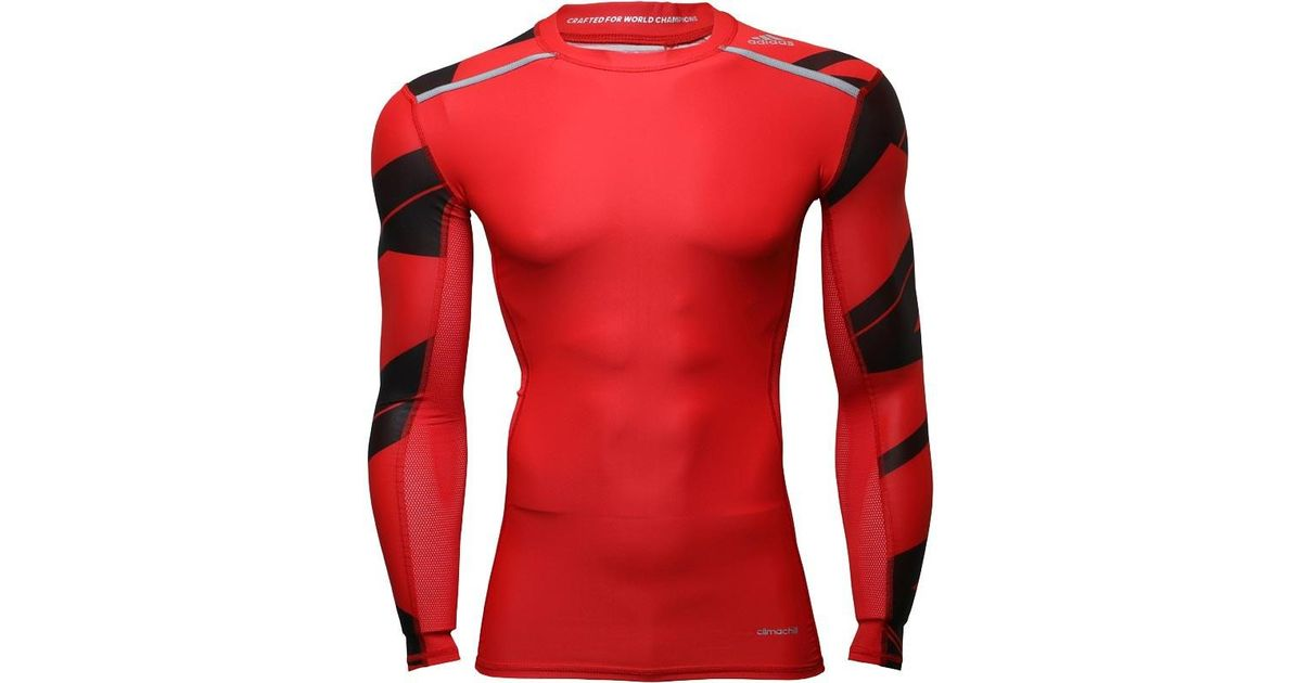 29bf474d Adidas Red Techfit Climachill Gfx Long Sleeve Compression Top Scarlet for  men