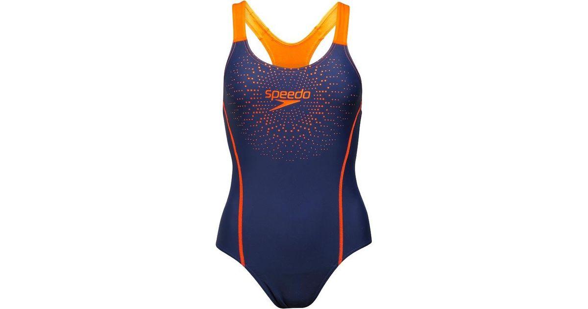 a6f22192bd3 Speedo Gala Logo Medalist One Piece Swimsuit Navy/orange in Blue - Lyst