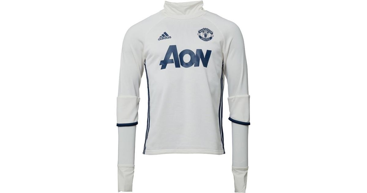 7416b6990cc adidas Mufc Manchester United Fc Training Top Chalk White collegiate Navy mineral  Blue in Blue for Men - Lyst