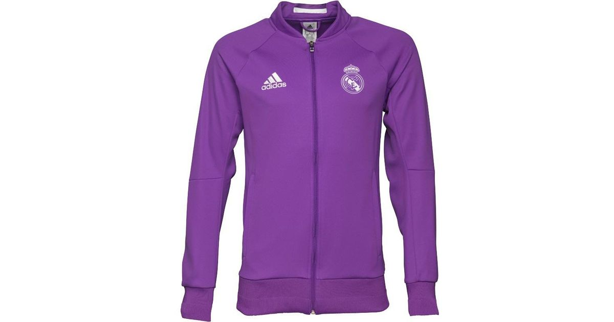 4ed82aa8d86 adidas Real Madrid Away Anthem Jacket Ray Purple/crystal White in Purple for  Men - Lyst
