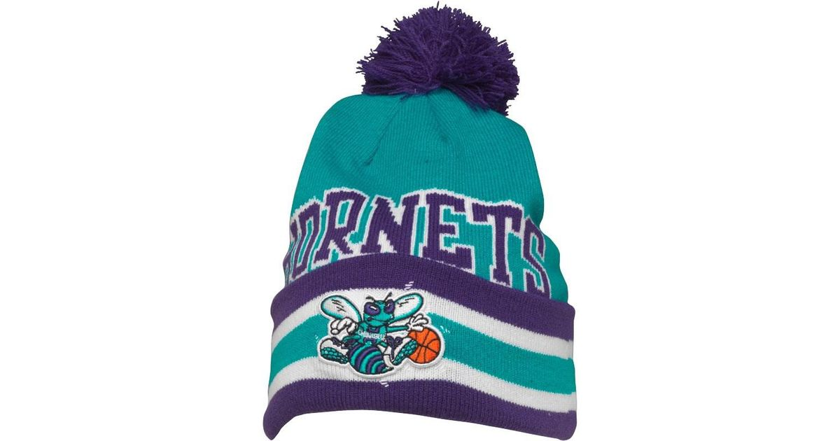 3d318950905 ... best mitchell ness charlotte hornets cuff knit bobble hat blue purple  in blue for men lyst