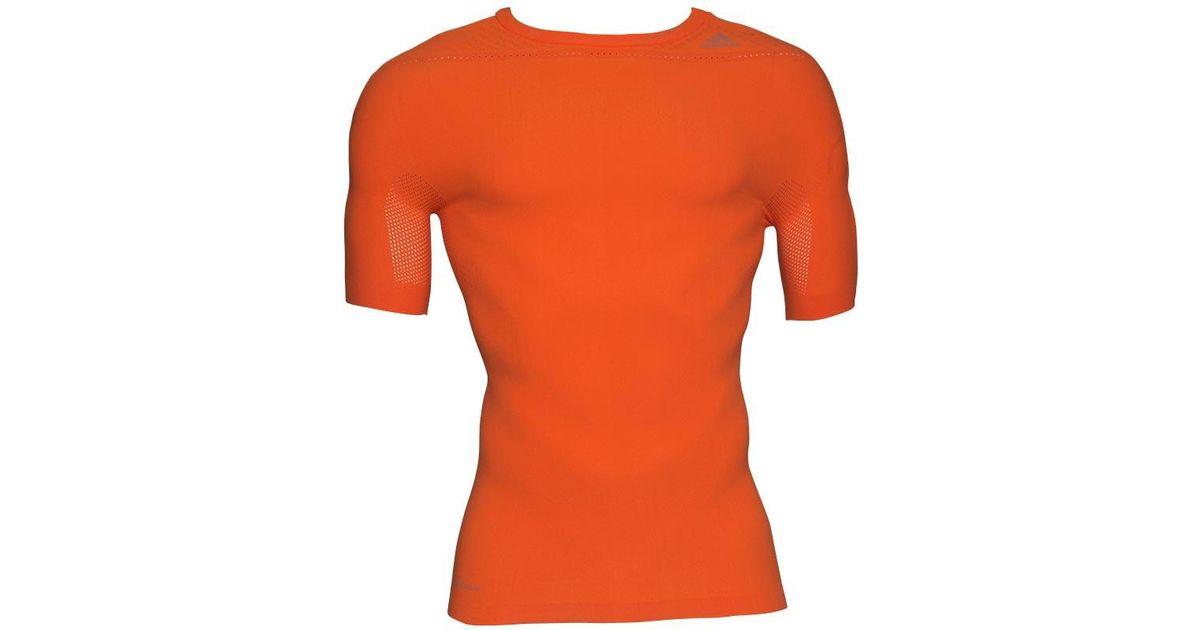 f3aadf9d Adidas Techfit Primeknit Climacool Fitted Training Top Solar Orange/black  for men