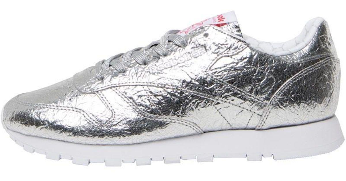 Reebok Leather Hd Trainers Silver Met