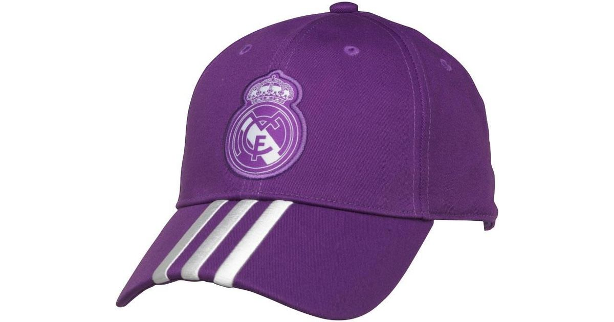 78a439694c37d adidas Rmcf Real Madrid 3 Stripe Cap Ray Purple crystal White in Purple for  Men - Lyst