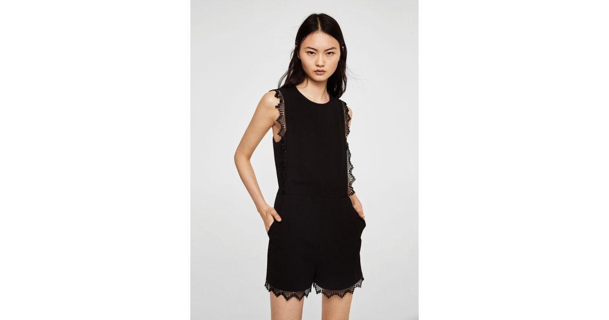 19ec2280e7d Lyst - Mango Blond-lace Applique Jumpsuit in Black