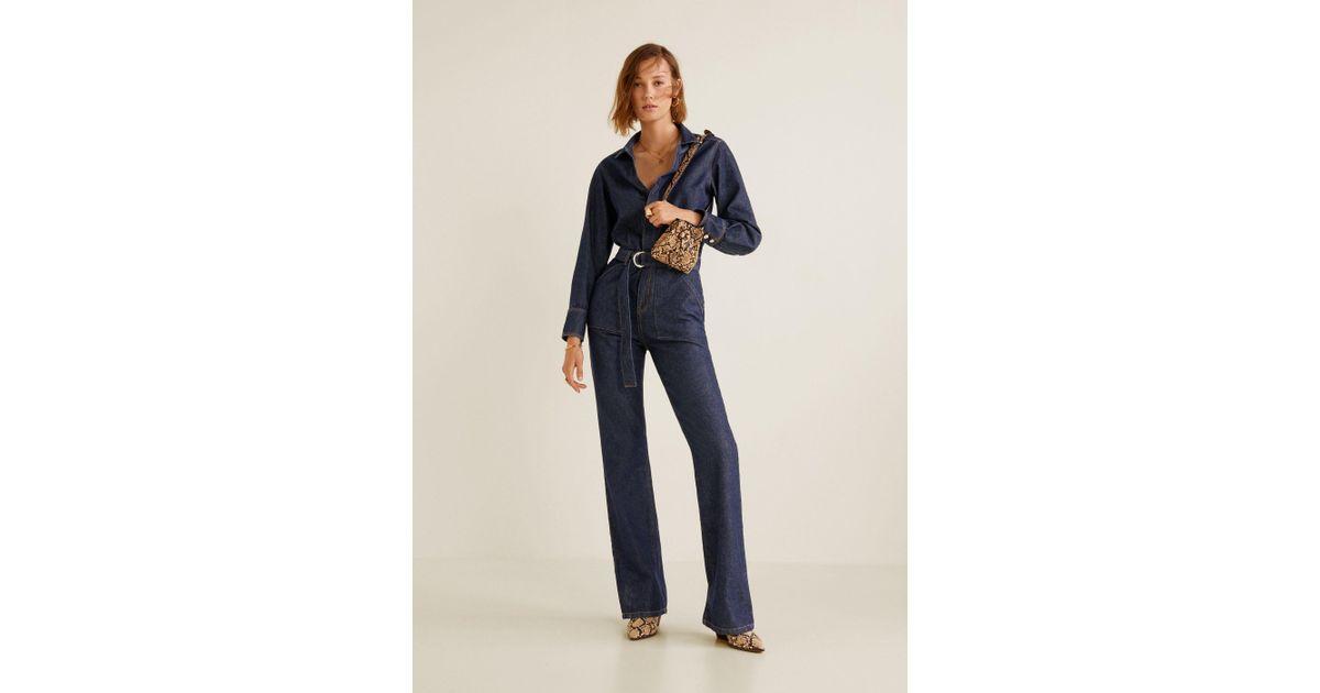 7c7d25a1d30c Lyst - Mango Belt Denim Jumpsuit in Blue