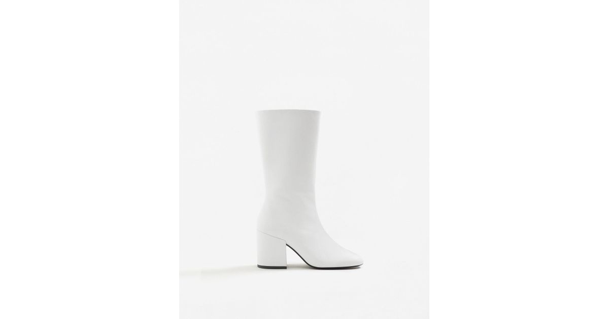 Mango Zipper Leather Boots in White - Lyst